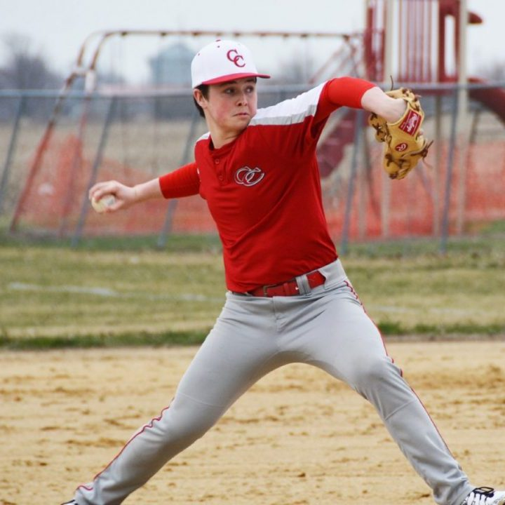 (Above) Koy Nixon delivers a pitch during Monday's game against Schuyler County.