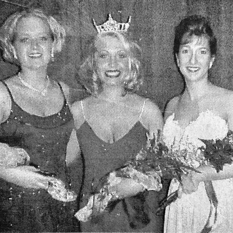 2000 MISS CLARK COUNTY AND COURT-Jessica Spurgeon, (center) radiates her happiness and excitement as she poses with her court after being crowned Miss Clark County 2000 on Saturday evening, February 19. Jennifer Murphy (right) daughter of Sharon and Patrick Murphy, was chosen as First Runner-Up. Shelby Duer, (left) daughter of Sherry Duer and Robert Duer, was names Second Runner-Up.
