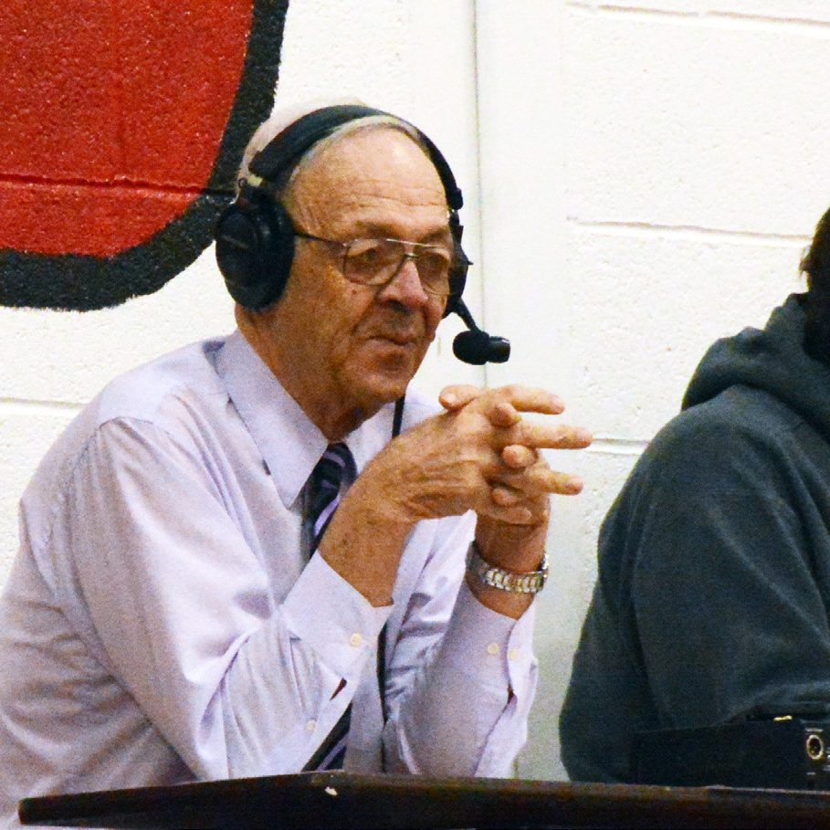 KMEM's Donnie Middleton has announced northeast Missouri high school sports for more than 30 year. Above he is pictured at the Clark County Lady Indian basketball game at Tipton last month.