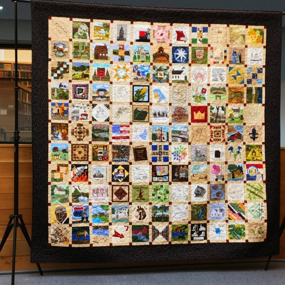 The Missouri Bicentennial Quilt will be on display at the Sever Library meeting room during Old Settlers this year.