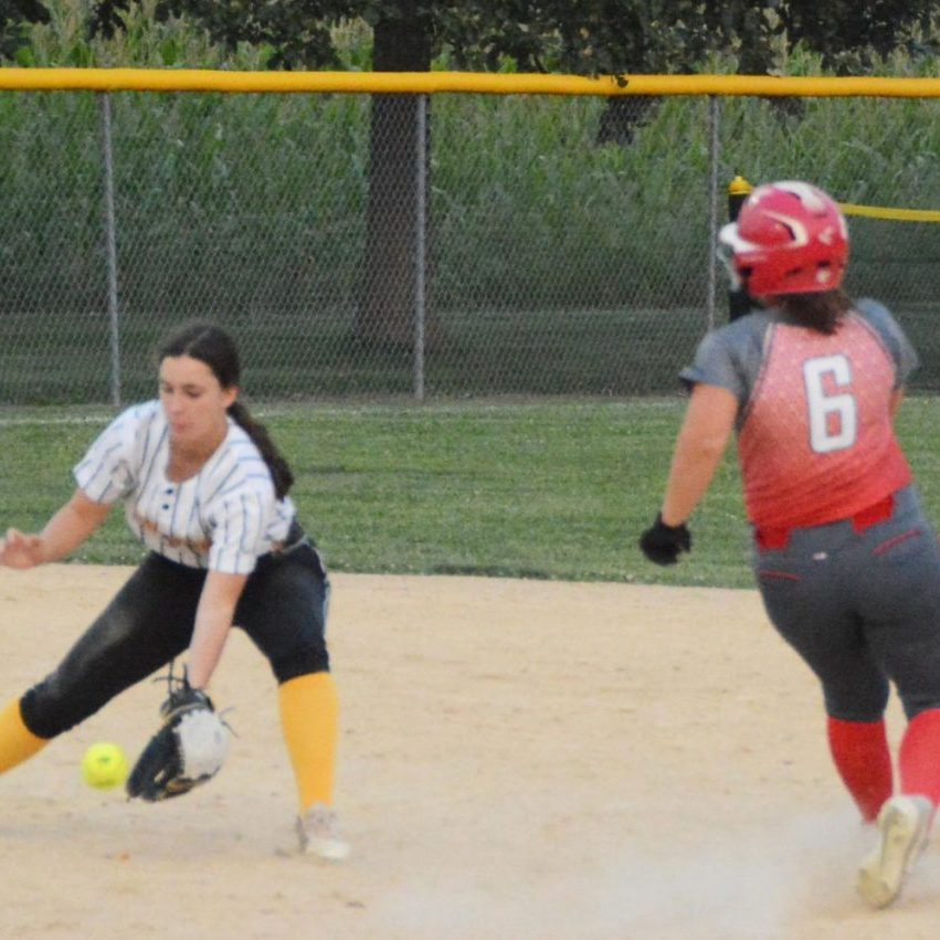 Ally Fox steal second base in last week's home contest against Monroe City.