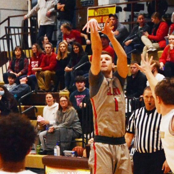 Layne Sommers buries a three pointer versus Highland on Thursday.