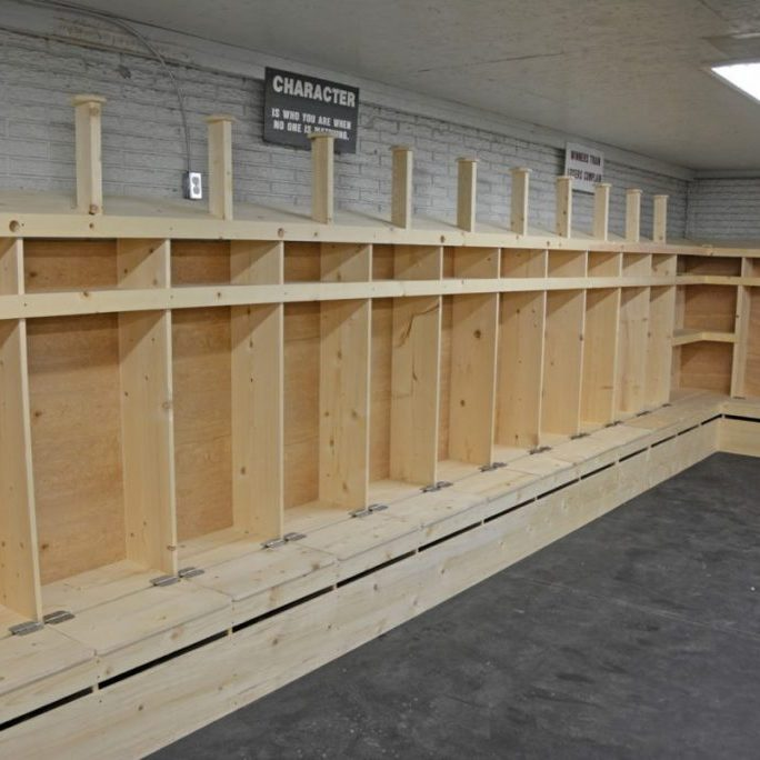 Improvements at the locker rooms at the CCR-1 Activity Field include new varsity football equipment storage lockers in the former weight room. The lockers still need to be finished before use.