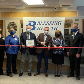 Blessing Health Keokuk held a ribbon cutting ceremony on Monday morning, March 1, to celebrate the transfer of ownership of the hospital from UnityPoint Health to Blessing Health System.