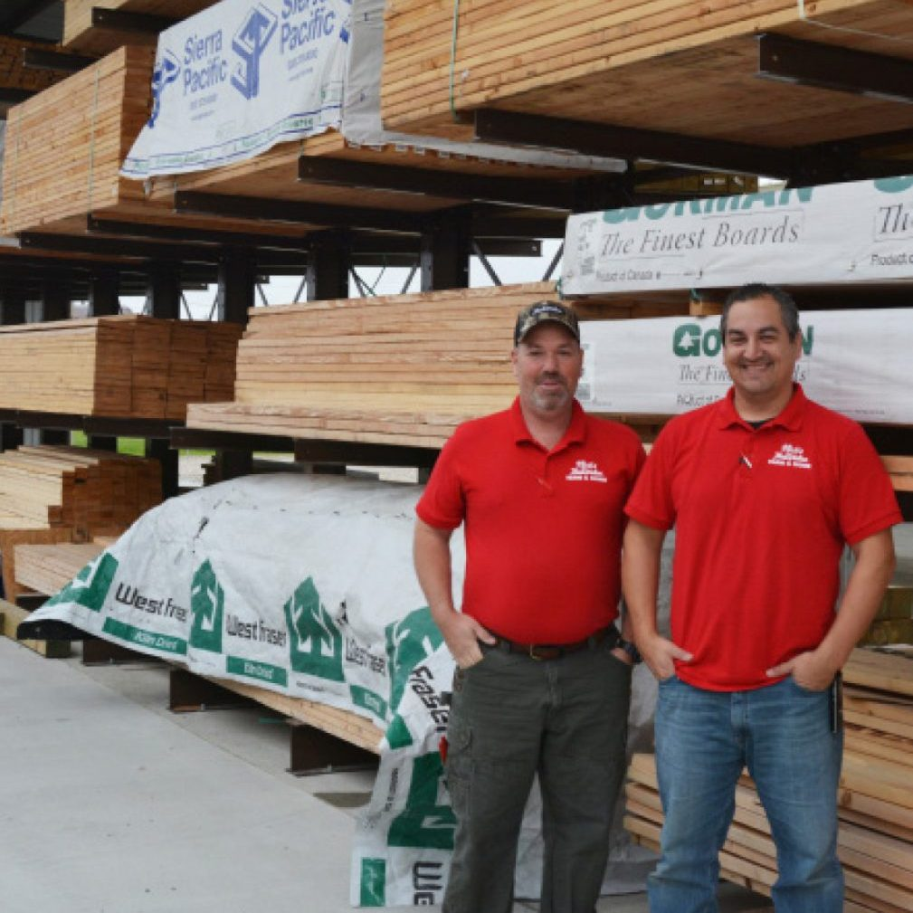 (Right) Brian Waschenbach, Outside Sales Manager and Nick McCarter, Store Manager, are ready to help you with your building and lumber needs.